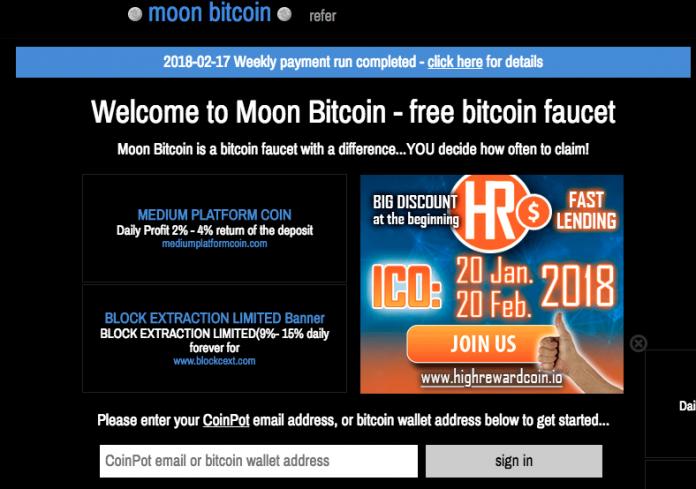 Kiếm Bitcoin miễn phí trên trang Moonbit